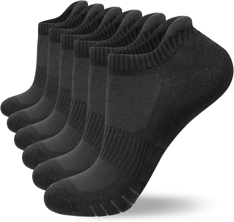 Size 3-15 Anqier 6 Pairs Mens Socks Trainer Socks Women Running Socks Cotton Cushioned Low Cut Sports Socks Ankle Athletic Walking ladies socks with Heel Tab soft plush sole