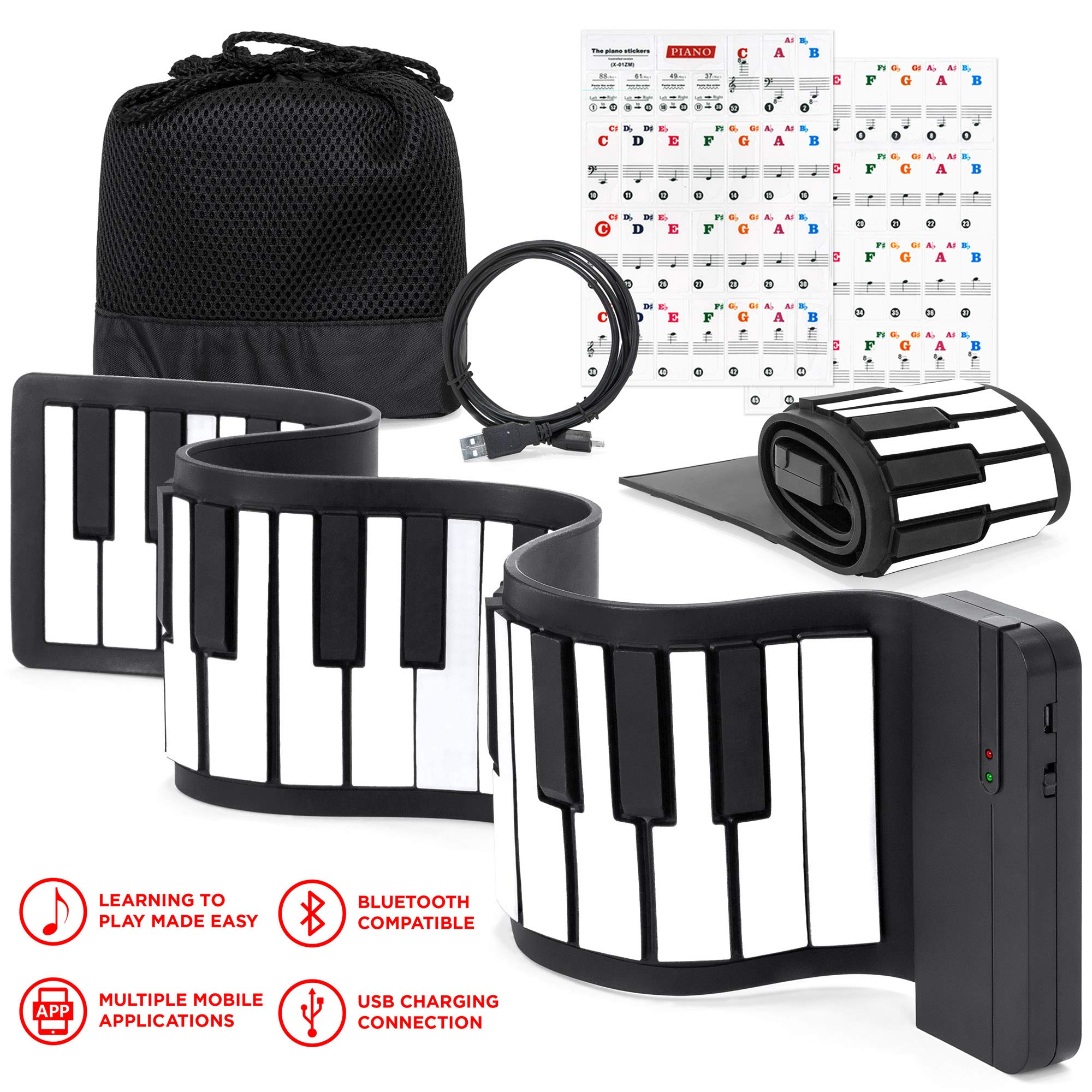 Best Choice Products Kids 49-Key Portable Flexible Roll-Up Piano Keyboard Musical Educational Toy Instrument w/Learn-To-Play App Game, Bluetooth Phone Pairing, Note Labels, USB Charging - White by Best Choice Products (Image #1)
