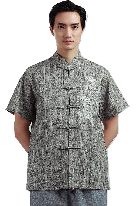 Shanghai Story Short Sleeve Men Martial Arts Dragon Embroidery Kung Fu Shirt 2XL
