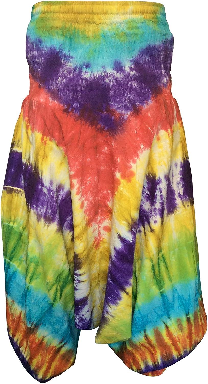 vestibilit/à morbida stile hippie Shopoholic Pantaloni larghi colorati con tecnica tie-dye