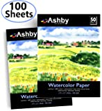 "Ashby 100 Sheets of Watercolor Paper (9"" x 12"") - Heavy Stock (190GSM), 100% Cotton, Acid-Free and Cold Pressed. Perfect for Painting or Drawing. Wet, Dry and Mixed Media. Bulk Pack"