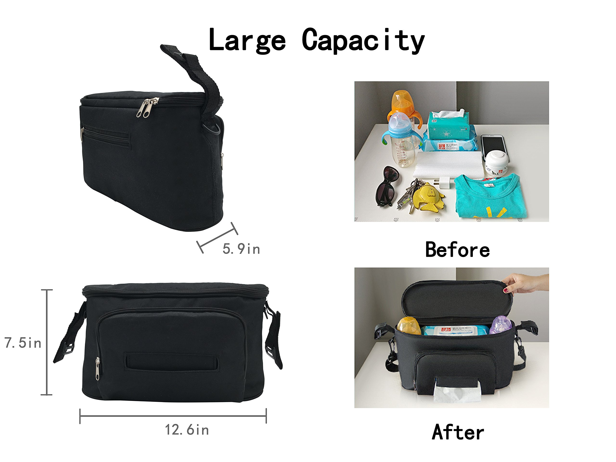 Large Space Stroller Organizer Diaper Bag with a free strap (black)