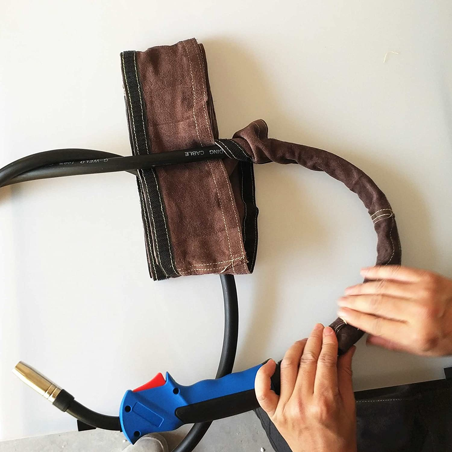 4in x 11.5ft Split Cowhide Leather Tig//MIG//Plasma Cable Sleeves Welding Cable Sleeve Torch Cable Cover 10x350cm