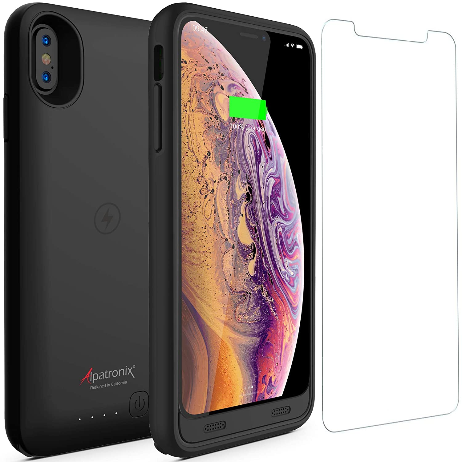 quality design 7d6b6 679e9 iPhone Xs Max Battery Case with Qi Wireless Charging Compatible, Alpatronix  BX10 Max 6.5-inch 3500mAh Rechargeable Protective Portable Charger Cover ...