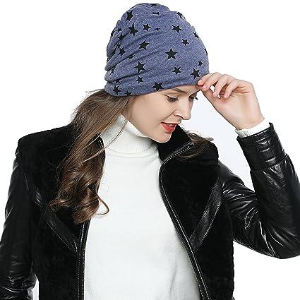 a8b03bbbc1e549 DonDon Damen Slouch Winter Mütze Beanie gefüttert mit Stern Print blau:  Amazon.de: Bekleidung