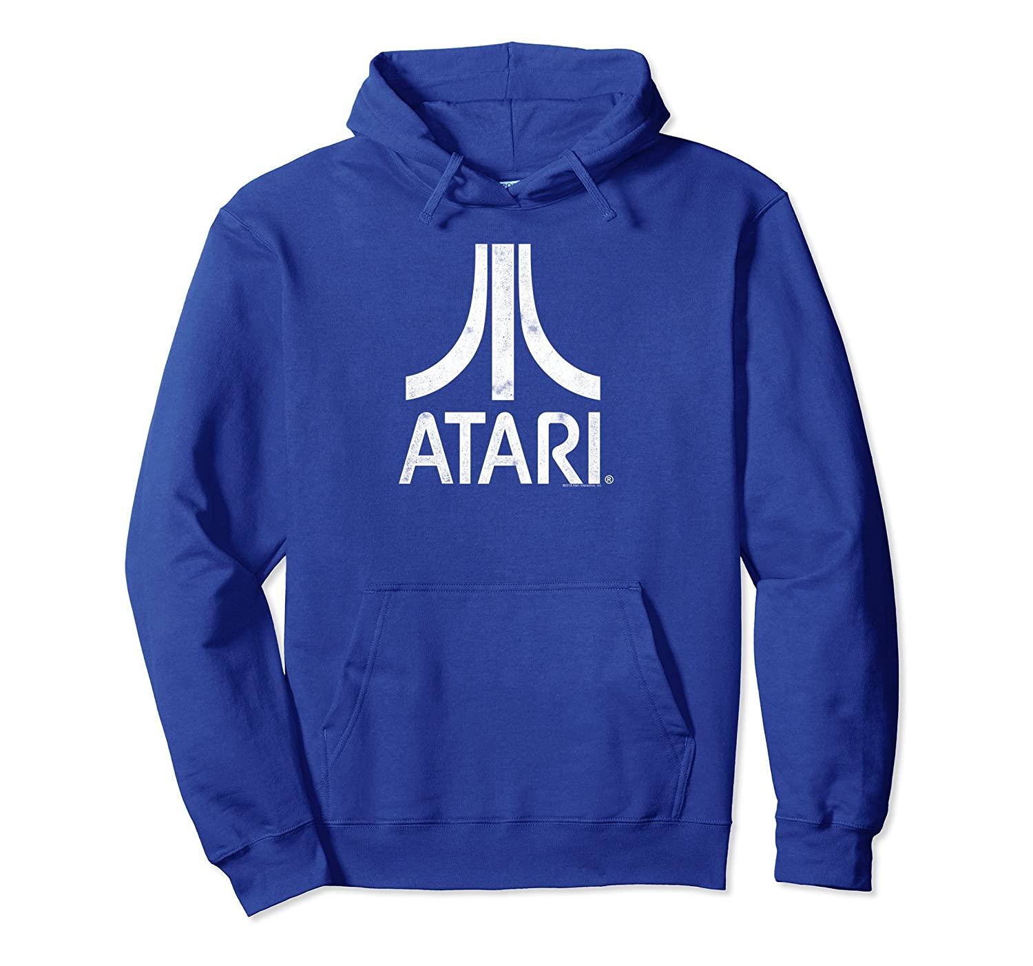 Atari White Slight Distressed Atari Logo Pullover Hoodie-mt