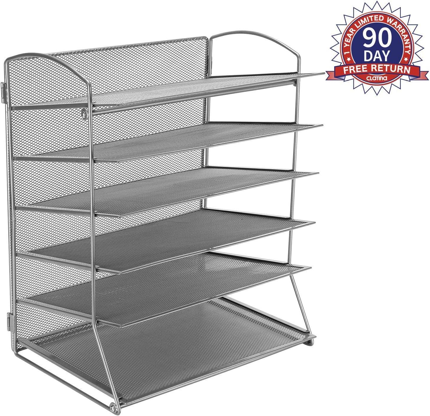 6 Metal Mesh Desktop File Organizer Desk Letter Tray for Office or Home, Grey