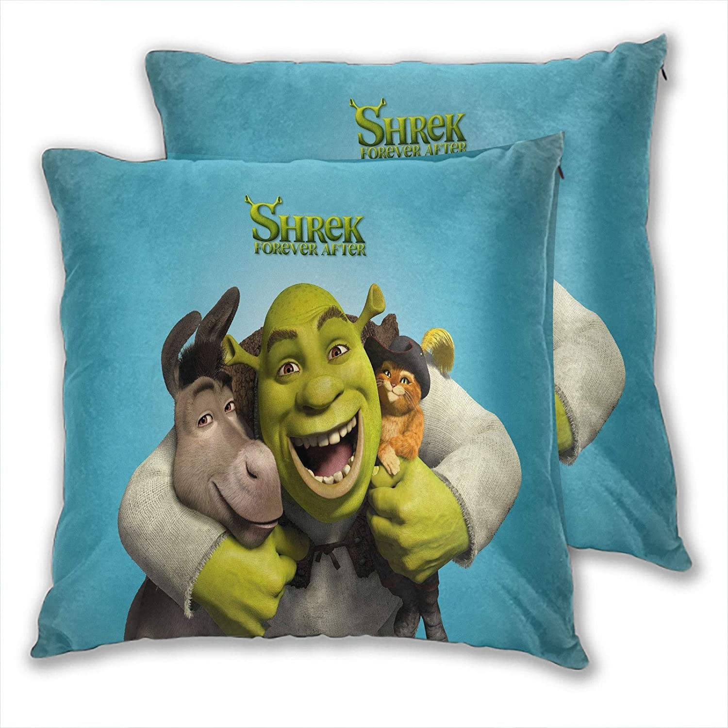 Throw Pillow Covers for Couch Shrek The Halls Donkey, Puss in Boots Home Decor Car Living Room 22x22 Inch Set of 2