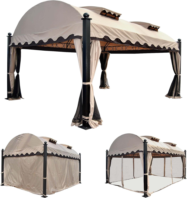 Mendler Pergola Daroca, cenador de jardín, 10 cm, estructura de aluminio con pared lateral + mosquitera 4, 5 x 3, 5 m: Amazon.es: Jardín