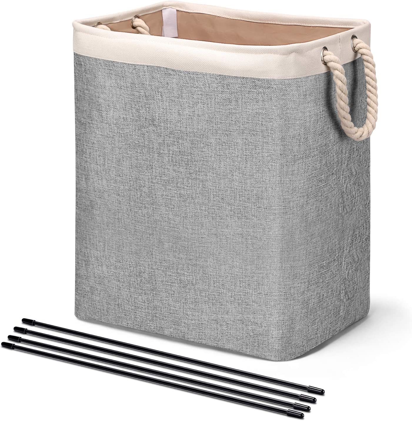 HOUSE DAY Laundry Basket with Handles Linen Laundry Hampers for Laundry Storage Baskets Built-in Lining with Detachable Brackets Well-Holding Foldable Laundry Bags for Clothing Organization (Grey)
