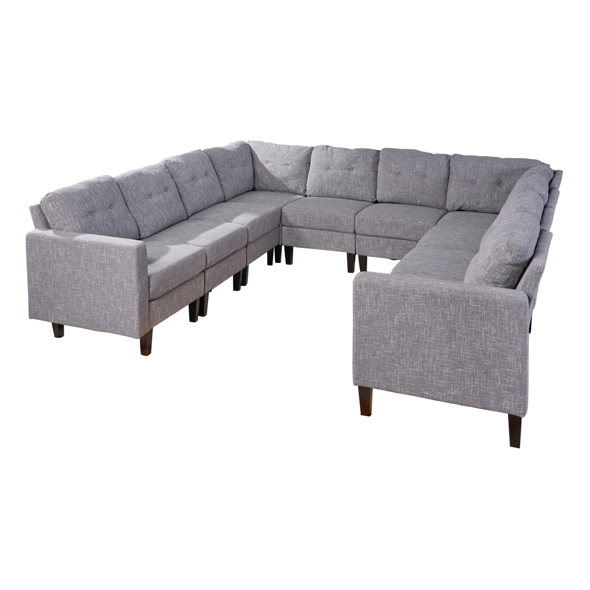 Christopher Knight Home Marsh Mid Century Modern U-Shaped Sectional Sofa Set, Gray Tweed, Dark Walnut by Christopher Knight Home