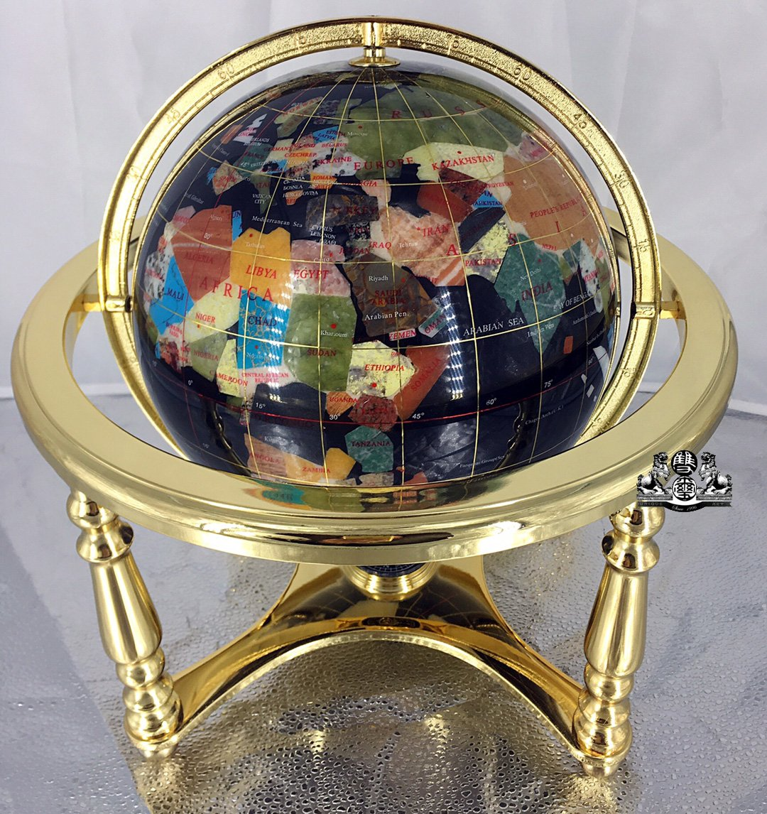14'' BLACK ONYX GEMSTONE GLOBE with 4-Leg Gold Stand
