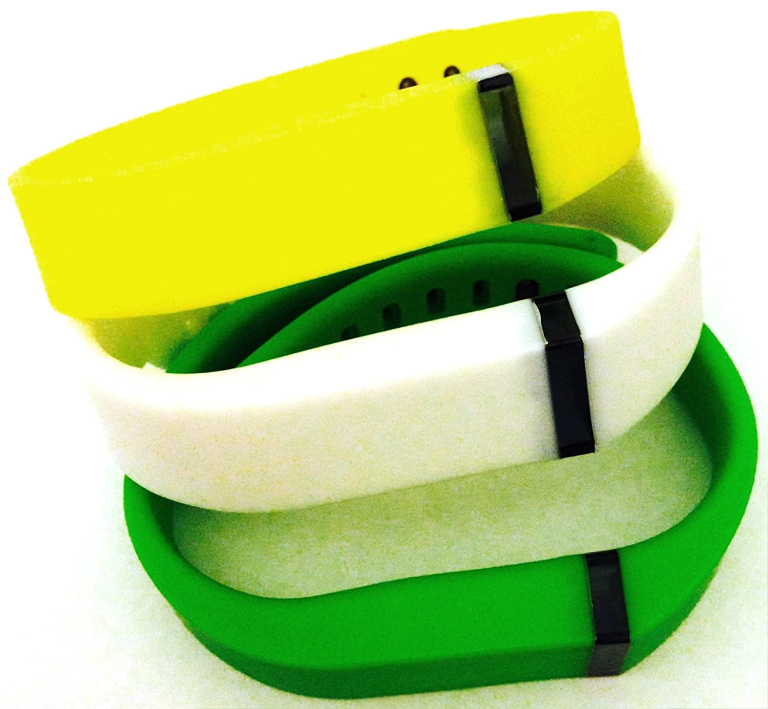 Large L 1pc White 1pc Green 1pc Yellow Replacement Bands + 1pc Free Large Grey Band With Clasp for Fitbit FLEX Only /No tracker/ Wireless Activity Bracelet Sport Wristband Fit Bit Flex Bracelet Sport Arm Band Armband