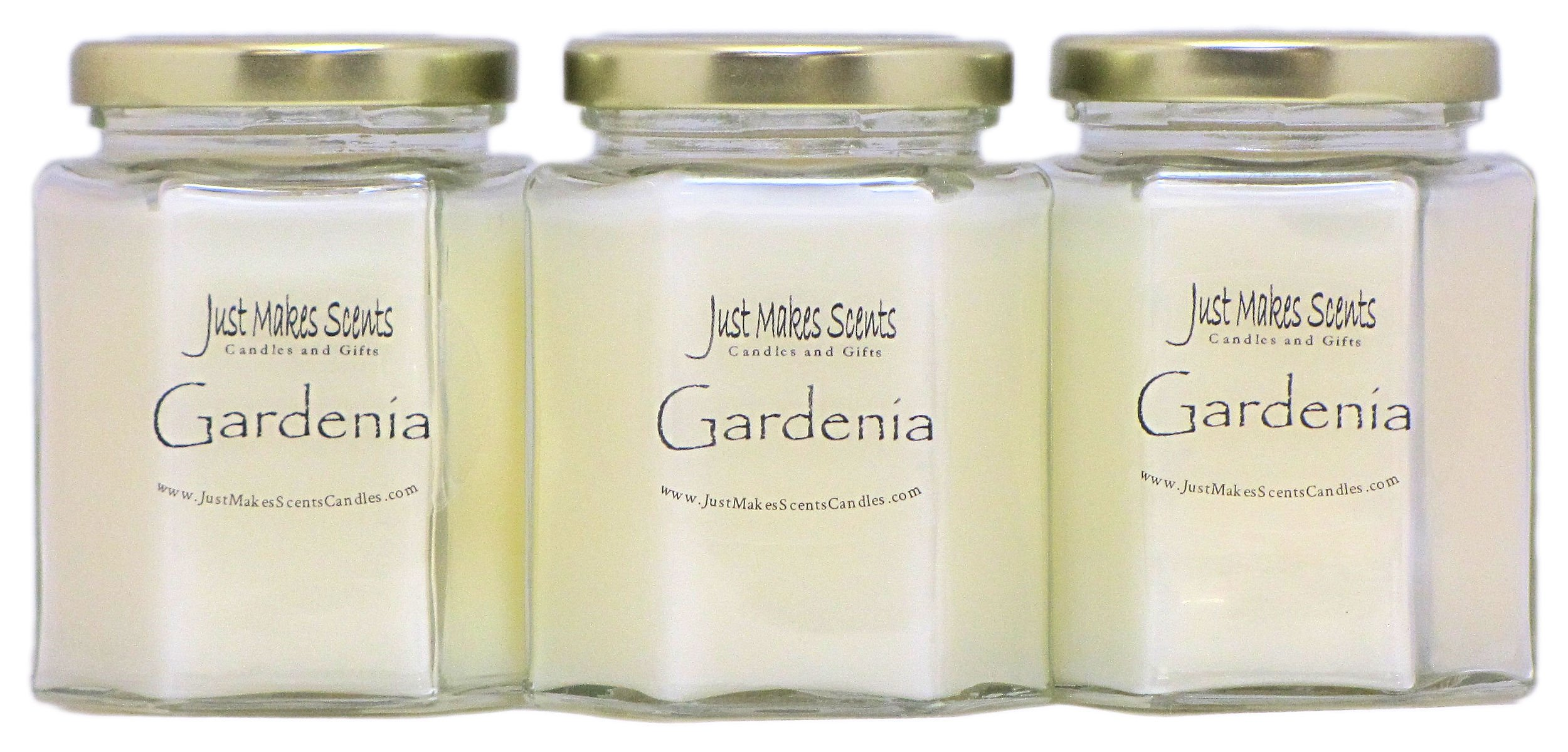 Just Makes Scents 3 Pack - Gardenia Scented Blended Soy Candle | Long Lasting Spring Floral Fragrance | Hand Poured in The USA