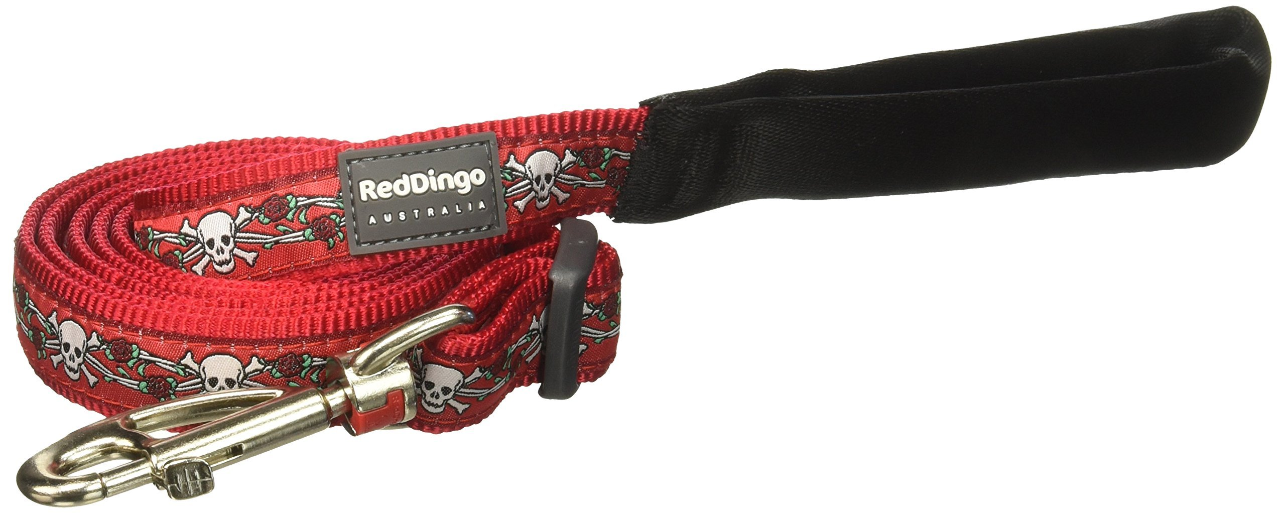 Red Dingo Skull & Roses Red Dog Lead, Large by Red Dingo