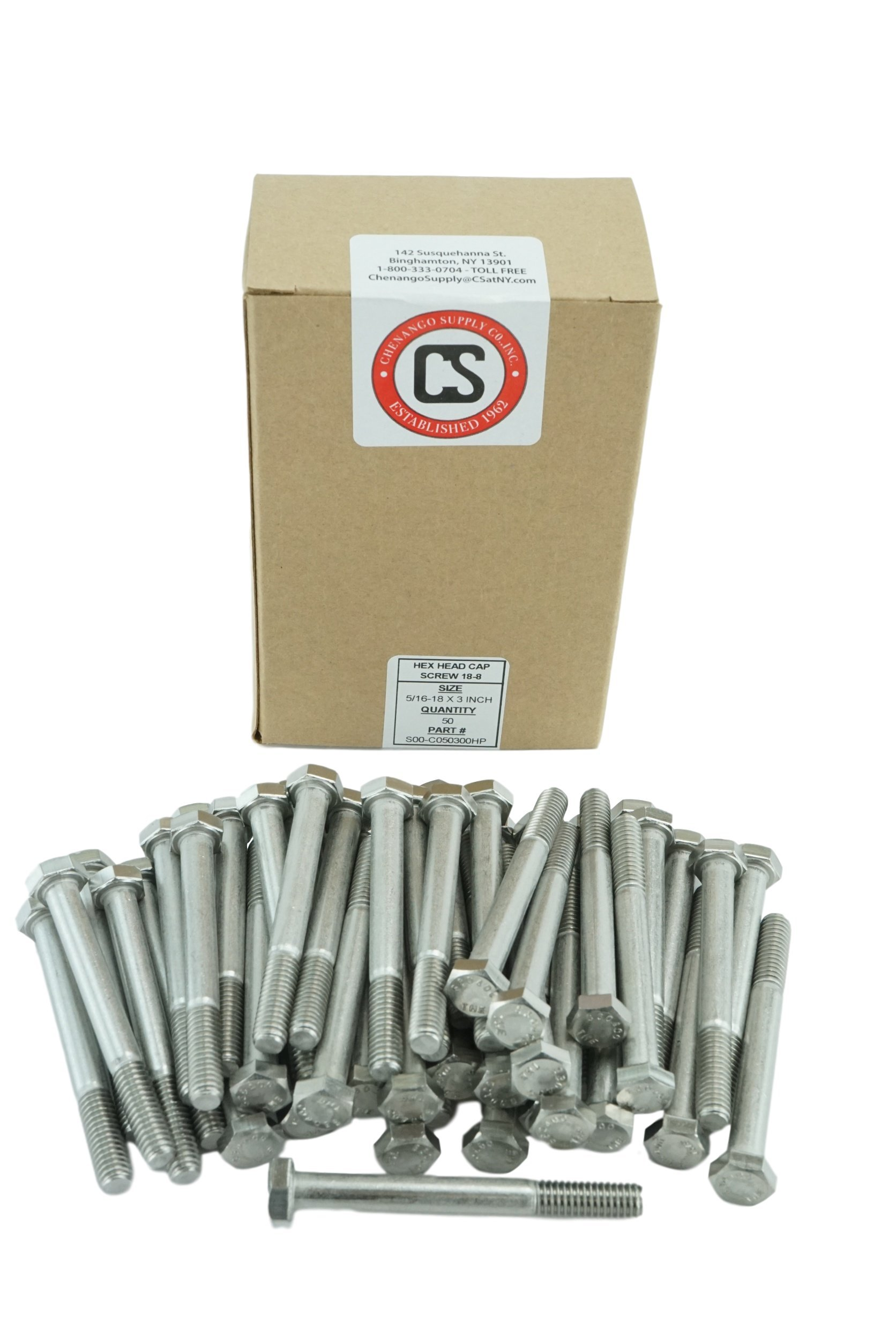 Stainless 5/16-18x3'' Hex Head Bolts (1/2'' To 4'' Length in Listing), 304 Stainless Steel (5/16-18x3''(50pcs)) by Chenango Supply (Image #1)