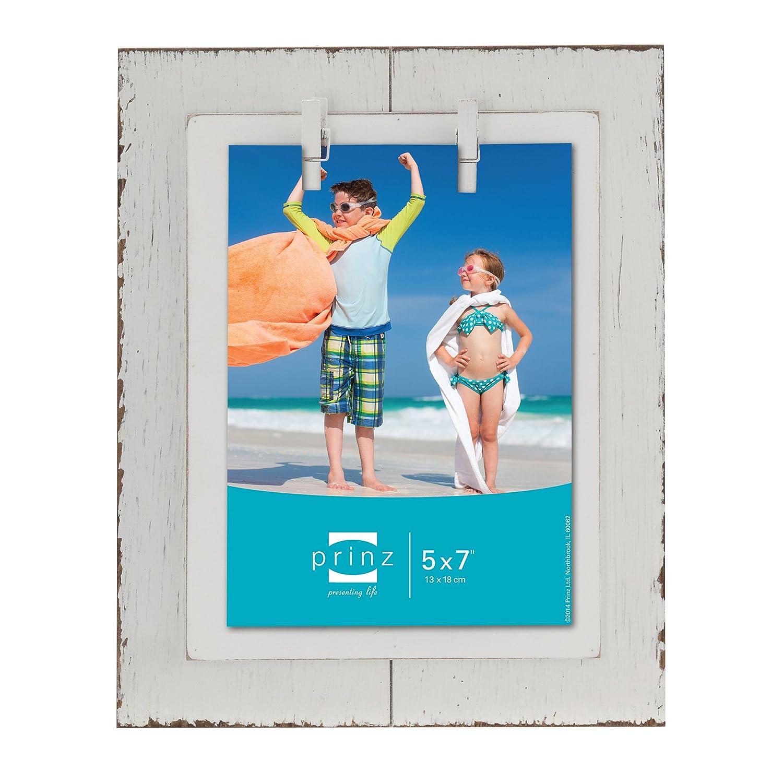 PRINZ playa tarro envejecido de envejecido tarro madera marco de madera con la ropa, 5 por 7 pulgadas, color blanco a5232d