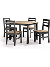 Manhattan Comfort Maiden Collection Reclaimed Traditional Modern 5 Piece  Pine Wood Dining Set, 4 Chairs