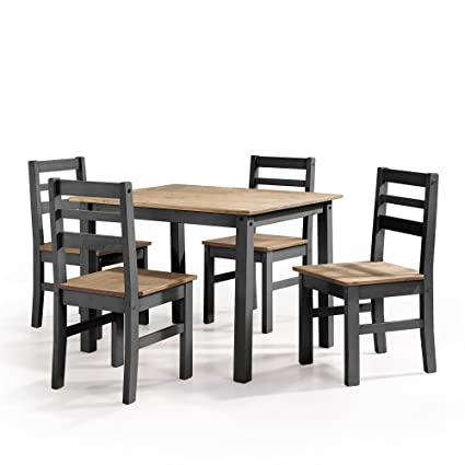 Manhattan Comfort Maiden Collection Reclaimed Traditional Modern 5 Piece  Pine Wood Dining Set, 4 Chairs and 1 Table Wood/Black