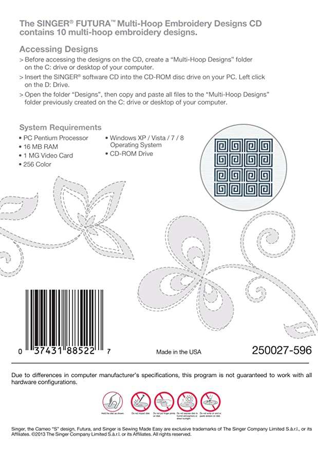 Amazon Singer Multi Hoop Embroidery Designs Cd For Futura With