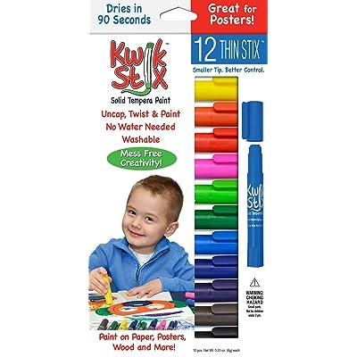 Pencil Grip Kwikstix Thin Stix Solid Tempera Paint, Super Quick Drying, 12 Classic Colors (TPG-608) Paint,Assorted classic.: Thinstix Tempera Paint: Toys & Games