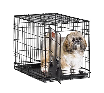 MidWest ICrate 24u0026quot; Folding Metal Dog Crate W/ Divider Panel, Floor  Protecting U0026quot
