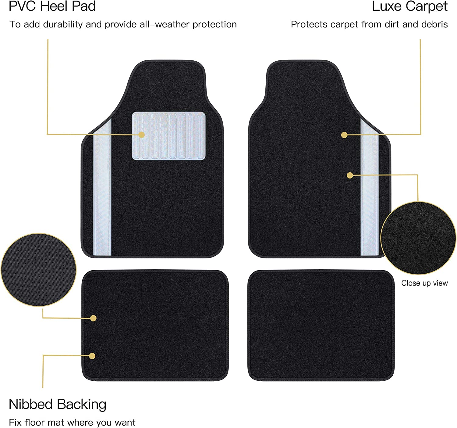 Matdology 4-Piece Universal Fit Luxe Carpet Car Floor Mats with White Flower Heel Pad and Two Decorative Tone Black Heavy Duty Vehicle Interior Floor Mats All Weather Protection