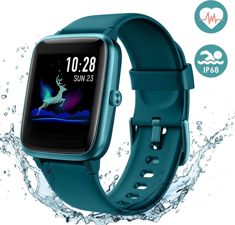 Arbily Reloj Inteligente Pantalla Táctil Completa Pulsera de Actividad Smartwatch Mujer Hombre Niño Reloj Deportivo a Prueba de Nadar Impermeable Podómetro Monitor de Sueño para iOS Android (Azul)