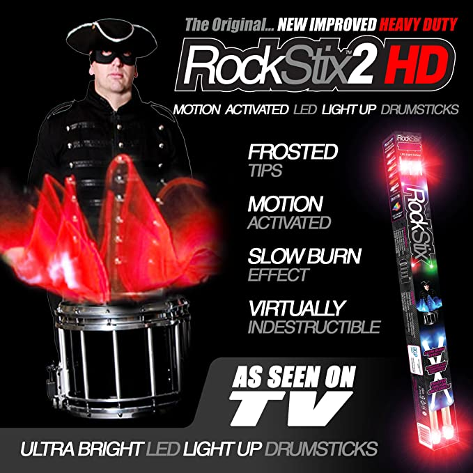 ❤ Rockstix 2 Hd Blue Bright Led Light Up Drumsticks W// Fade Effect Set Your Gig