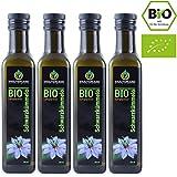 BIO Schwarzkümmelöl BIO • 4 x 250 ml • gefiltert • kaltgepresst • ägyptisch • 100% naturrein • Frischegarantie: täglich mühlenfrisch direkt vom Hersteller Kräuterland Natur-Ölmühle