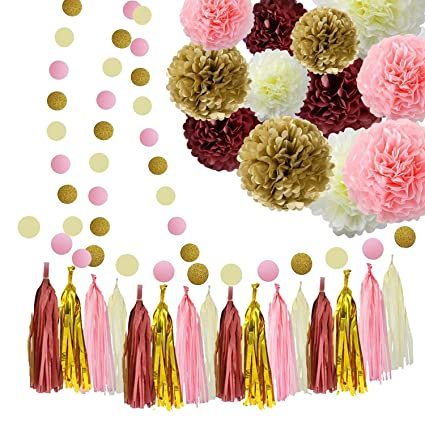 amazon com sogorge bridal shower decorations burgundy pink glitter