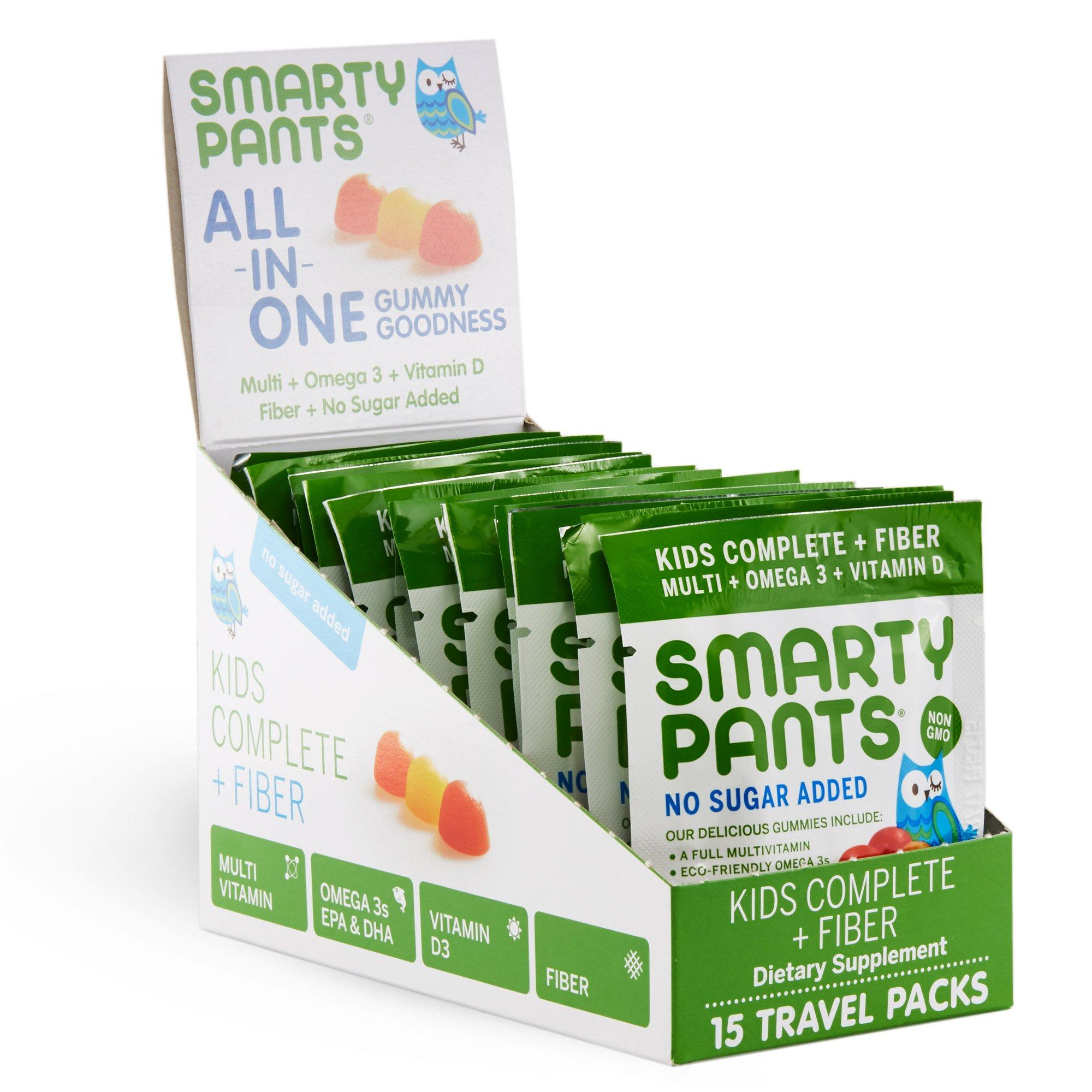 SmartyPants Kids Complete and Fiber Gummy Vitamins: Multivitamin, Gluten Free, Prebiotic Fiber, Omega 3 Fish Oil (DHA/Epa Fatty Acids), Folate (methlyfolate),Vitamin D3, 15 Count (15 Day Supply)
