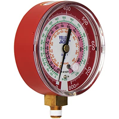 "Yellow Jacket 49137 3-1/8"" Red Pressure, 0-800 psi, R-22/404A/410A Gauge Degrees F: Industrial Pressure Gauges: Industrial & Scientific"