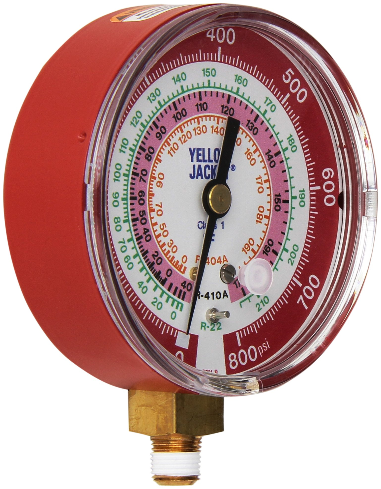 Yellow Jacket 49137 3-1/8'' Red Pressure, 0-800 psi, R-22/404A/410A Gauge Degrees F