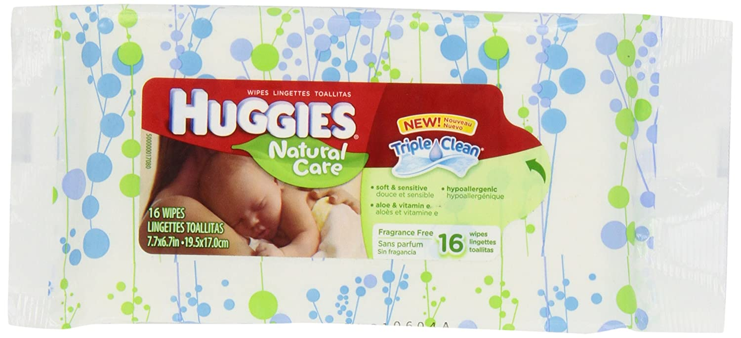 Huggies Natural Care Fragrance Free Soft Travel Pack with Peel and Reseal Baby Wipes, 16-Count