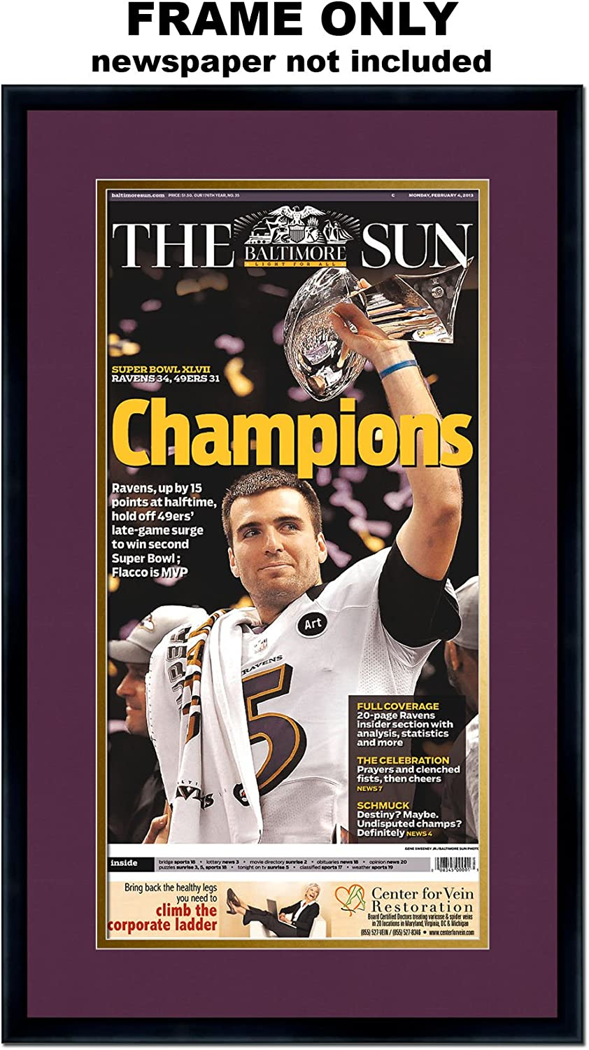 Amazon Com The Baltimore Sun Newspaper Frame With Baltimore Ravens Colors Double Mat