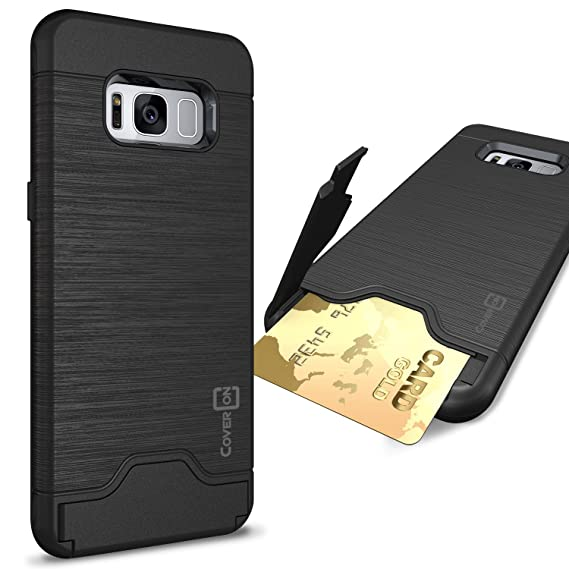 buy online c6be5 33d07 CoverON SecureCard Series Galaxy S8 Case, Credit Card Holder Hybrid Phone  Cover with Faux Brushed Metal Design - Black