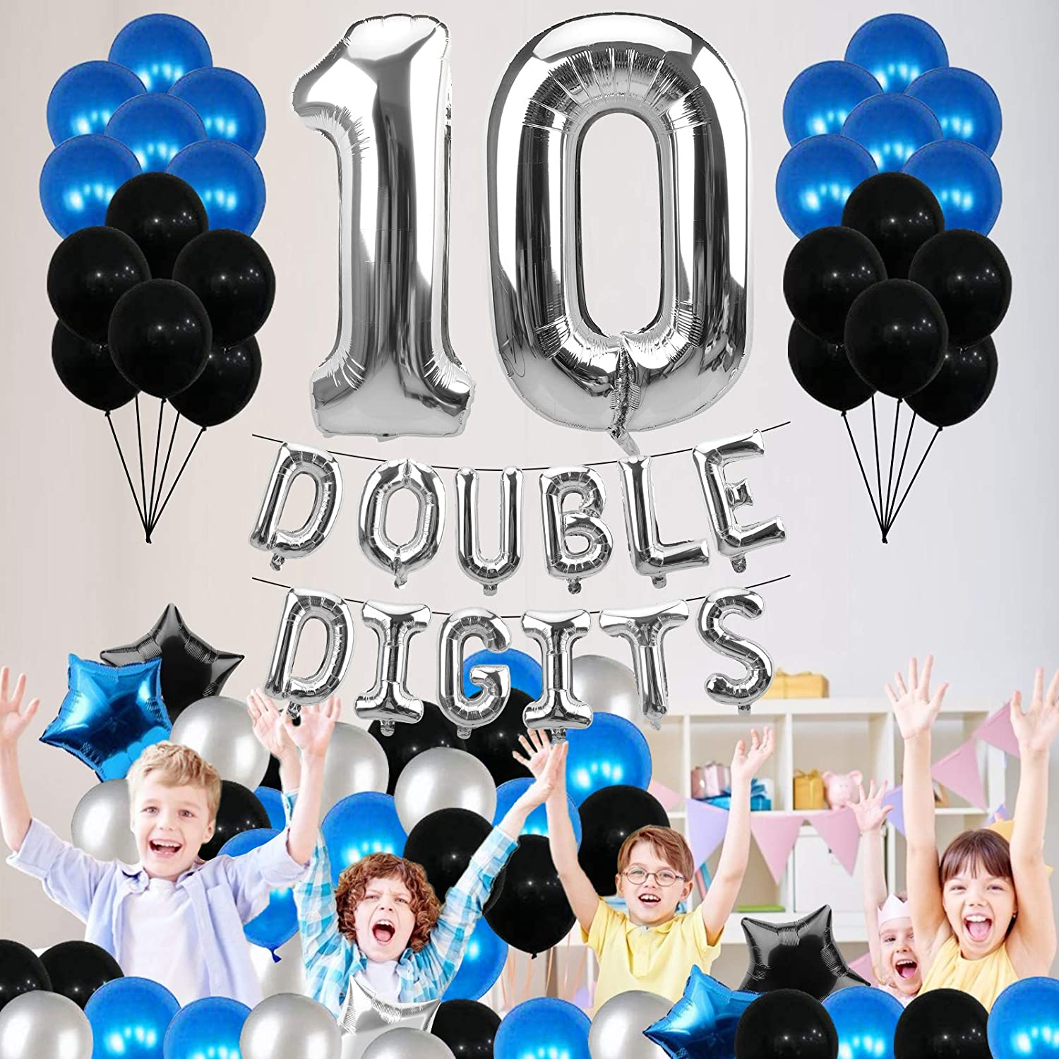 Happy 10th Birthday Party Supplies Luxiocio Double Digits 10 Birthday Balloon Decorations Kit Double Digits Balloon Banner with Large Number 10 Balloons 6Pcs Star Foil 8Pcs Latex Balloons