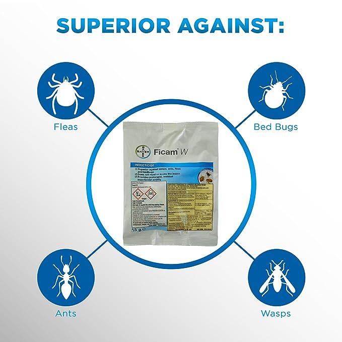 Tratamiento profesional Ficam W de la marca Bayer para eliminar pulgas, ácaros rojos, pulgas, moscas, insectos y cucarachas, 1 unidad de 15 gramos: ...