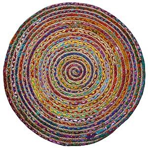 The Indian Arts Commerce équitable Rond Multi Couleur Coton/Jute tressé Tapis de matériaux recyclés, Textile, Multicolore, 120cm Diameter