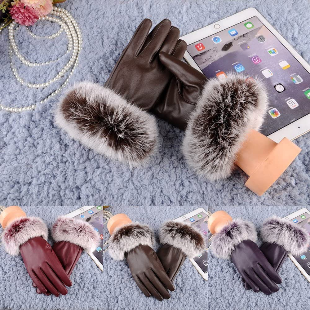 iTLOTL Womens Leather Gloves Autumn Winter Bow Warm Driving Plus Velvet Mittens