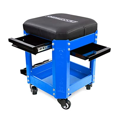 OEMTOOLS 24996 Blue Rolling Workshop Creeper Seat with 2 Tool Storage Drawers, Under Seat Parts Storage, Can Holders | Handy Mechanic's Seat is the Ultimate Garage Accessory | Work in Comfort: Automotive