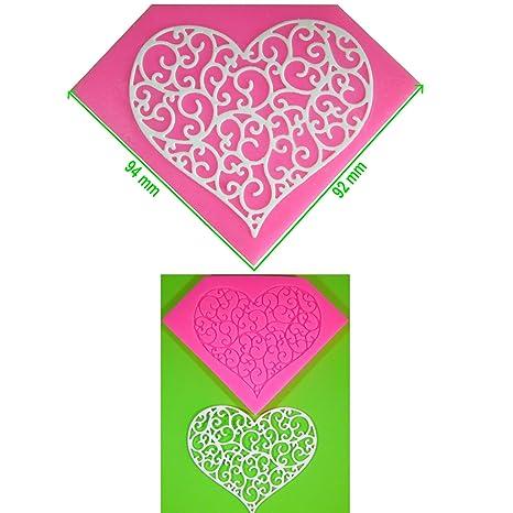 Embossing corazón en forma de filigrana Molde de silicona para la torta de Decoración Pastel de