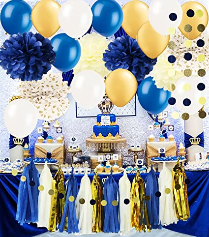 Amazon Royal Pince Baby Shower Decorations Navy Gold Bridal