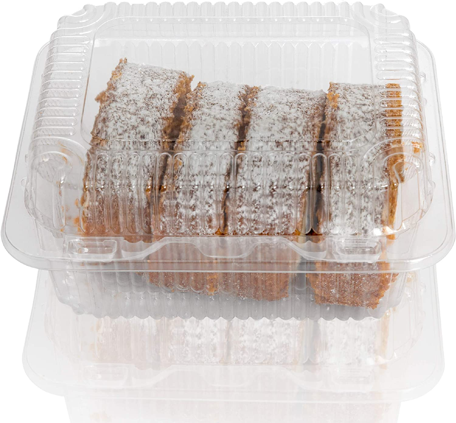 """Clear Plastic Hinged Food containers - Sturdy Disposable Bakery Lid Cookie Container Boxes - 7""""x 6""""x3.5"""" (20)"""