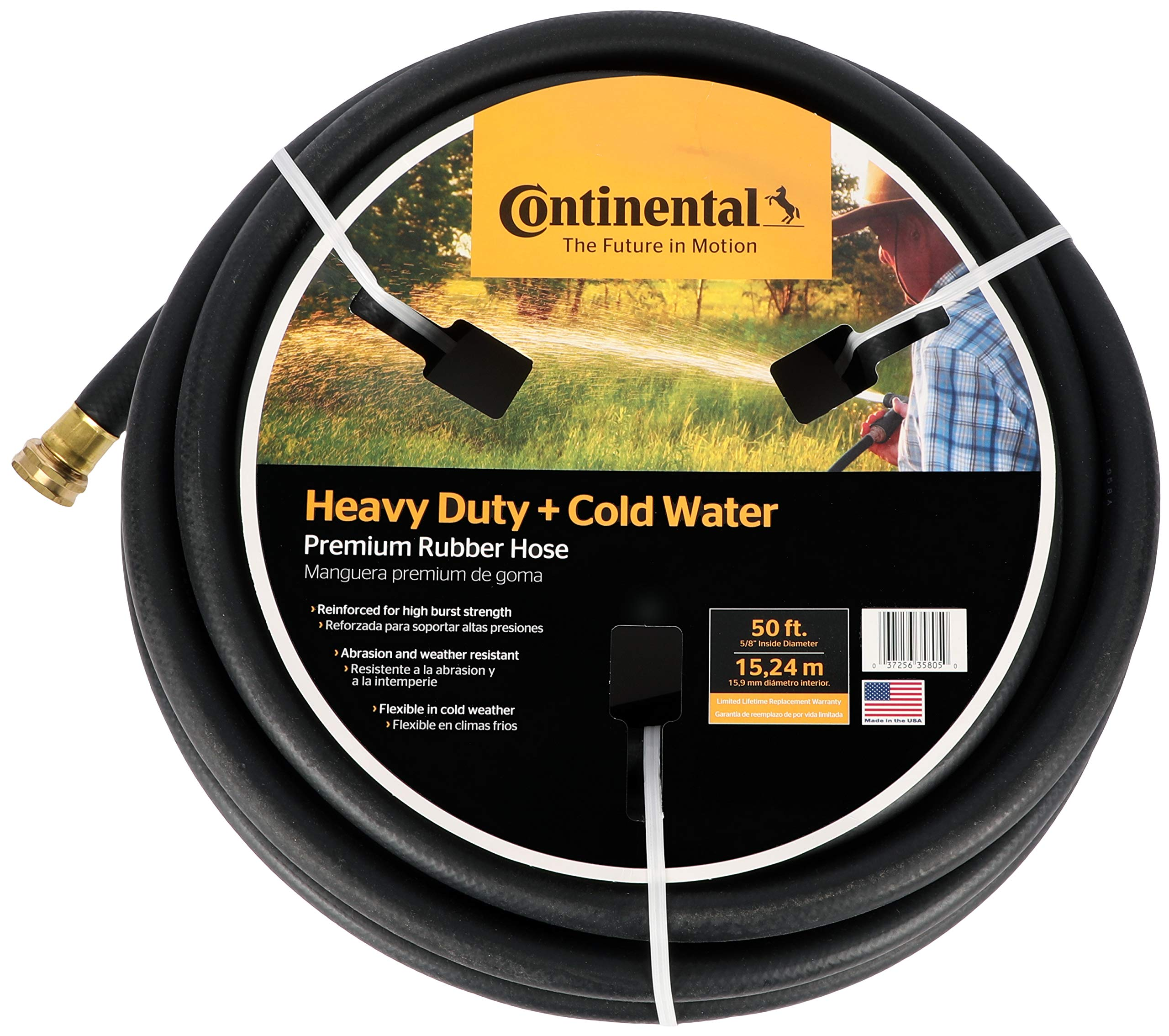 Continental Premium Cold Water Heavy Duty Black EPDM Garden Hose, 5/8'' ID x 50' Length Reel by Continental