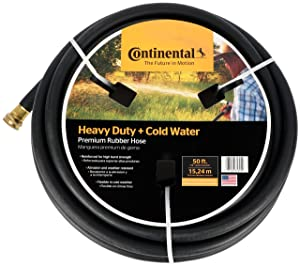 "Continental Premium Cold Water Heavy Duty Black EPDM Garden Hose, 5/8"" ID x 50' Length Reel"