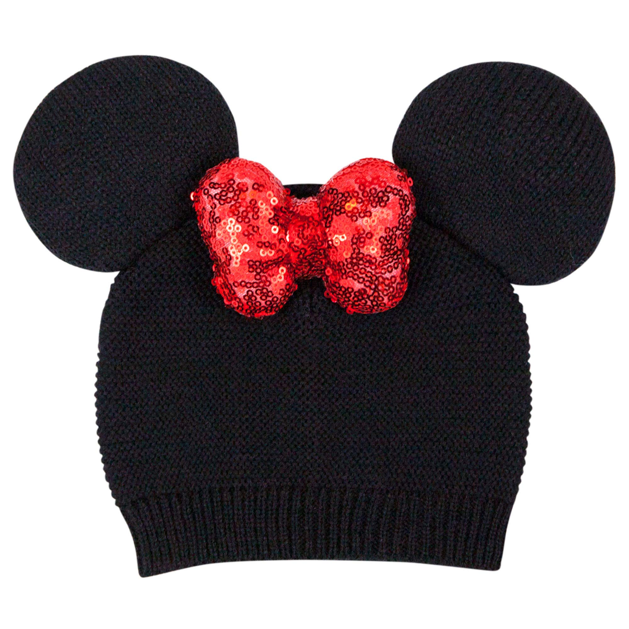 Disney Baby Minnie Mouse Ears Knit Beanie Hat with Red Sparkle Sequin Bow 0-12 Moths Black by Disney