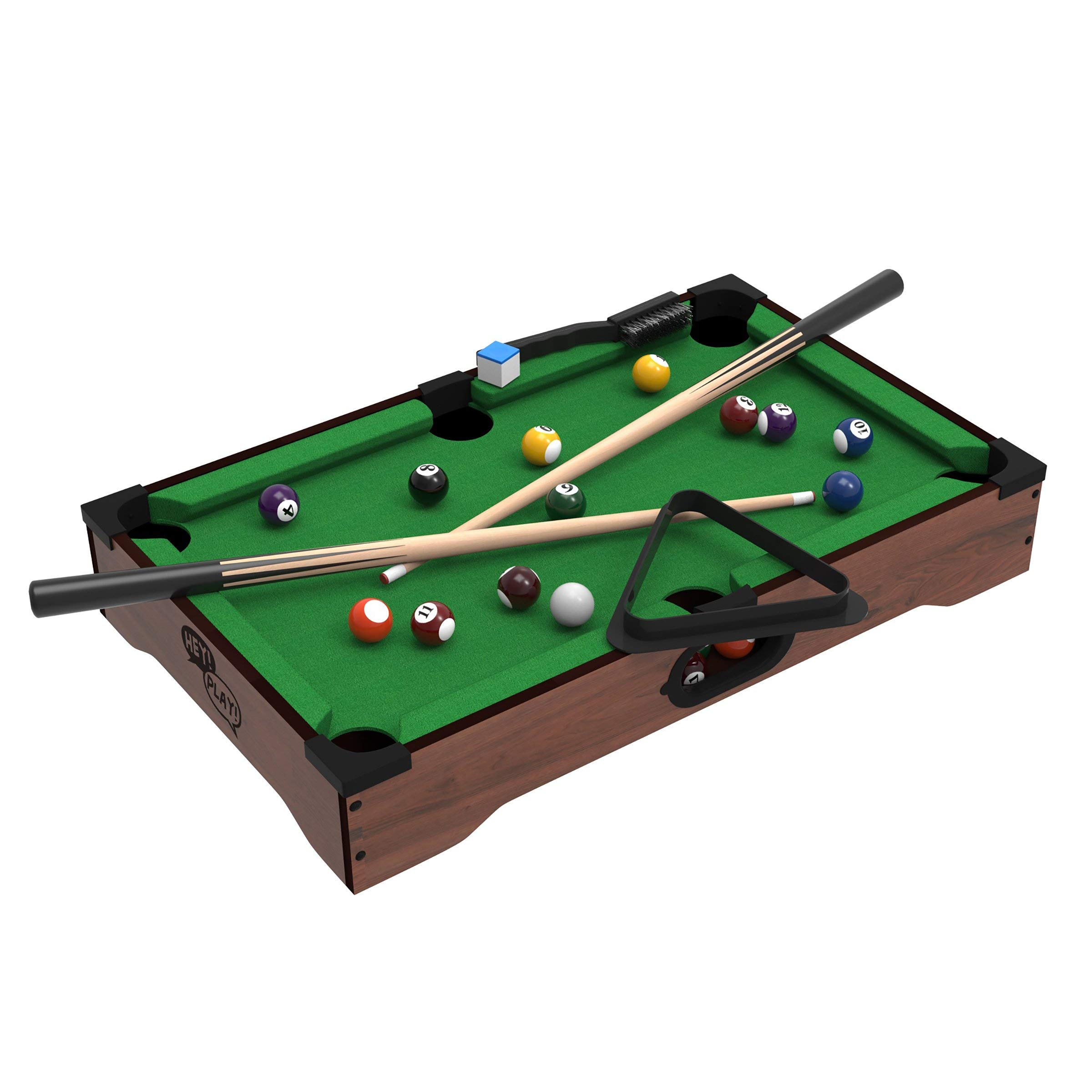 Mini Tabletop Pool Set- Billiards Game Includes Game Balls, Sticks, Chalk, Brush and Triangle-Portable and Fun for the Whole Family by Hey! Play! (Renewed) by Trademark