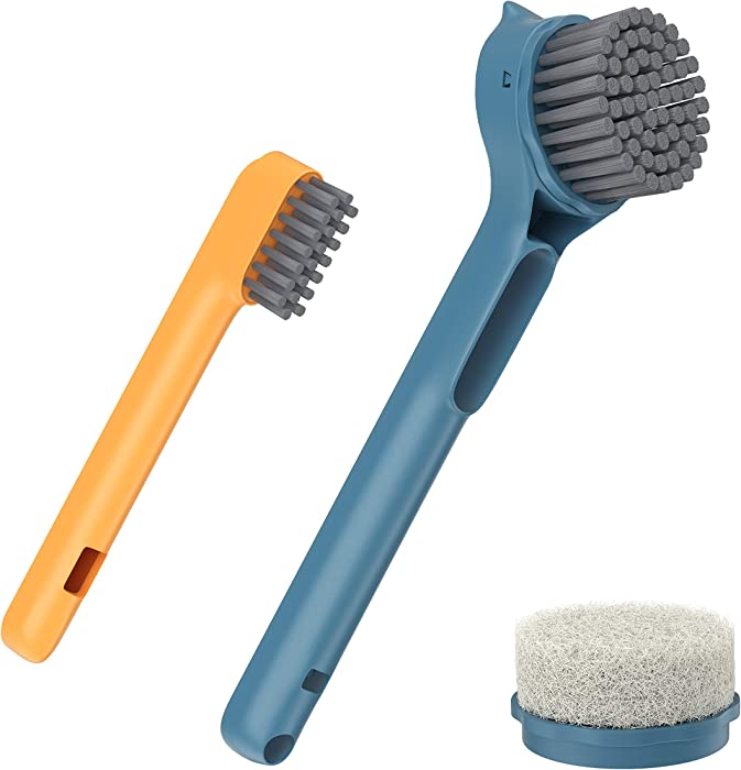 DIAOBO Dish Brush with Handle with Built-in Scraper, Cleaning Brush with Replacement Sponge Brush Heads, Kitchen Scrub Brush for Cleaning Pans, Pots, Sink (Navy Blue)